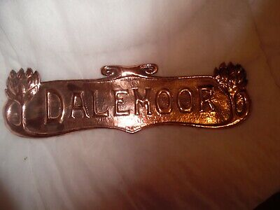 Arts&Crafts Copper House Name Plaque - 45X13Cms