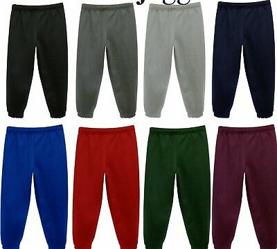 Girls Boys Jogging School Bottoms Kids PE Fleece Tracksuit Trousers 2-14years