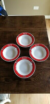 Vintage Coca-Cola Bowls Set of 4 Red Color Block Pattern 1996 Gibson China Coke