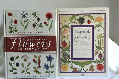 2 Jane Nicholas Stumpwork Embroidery Shakespeare's Flowers, Fruit, Insects, and