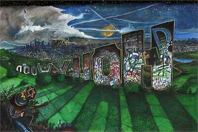 "Grafitti Hollywood Sign Art Print Poster - 36"" X 24"""