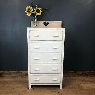 Vintage Chest Of Drawers Shabby Chic Cabinet Painted Bedroom Tall Distressed