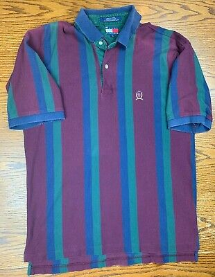 Vintage 90s 00s Tommy Hilfiger Striped Color Block Collared Polo Shirt L Supreme