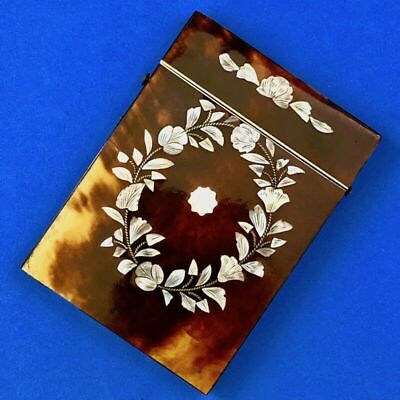 Antique Faux Tortoiseshell Floral Piqué Mother of Pearl Lady's Calling Card Case
