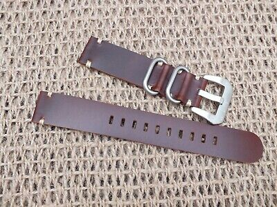 Genuine Leather Zuludiver Military Watch Strap 20mm  Brown