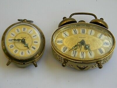 Vintage Couple  Wind Up Table Alarm Clock Jerger & Blessing Made In West Germany