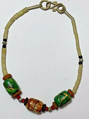 ANCIENT Roman lovely mixed colored glass RARE Beads SILVERED Bracelet