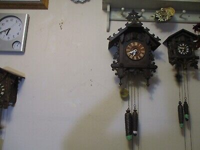 Antique Railroad Cuckoo Clock Runs Good. Missing Bird.