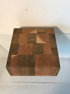"Teak & Cherry End Grain Cutting Board Size 6"" X 5.75"" X 2.4"""