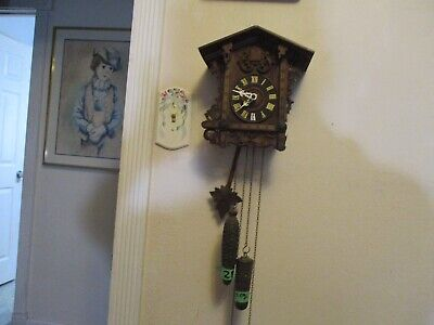 Rare  Antique Minature Railroad Cuckoo Clock Runs Good.