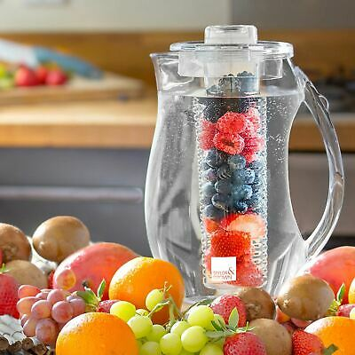 2 Litre Fruit Infusion Pitcher Water Jug With Ice Core & Flavour Infuser Cooler