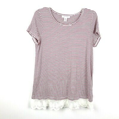 Motherhood Maternity Womens Size Small Red White Striped Lace Hem Blouse Top