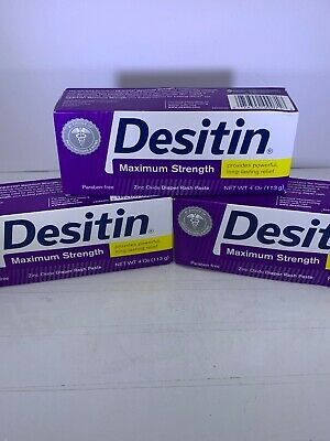 3x Desitin Maximum Strength Zinc Oxide Diaper Paste 4oz EXP 2/21