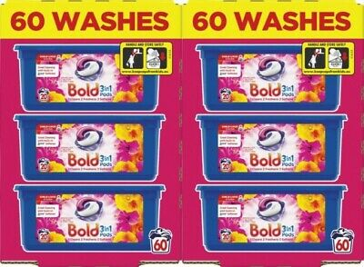 Bold 3-in-1 Washing Pods Liquid Gel Laundry Capsules - Bloom & Poppy -120 Washes