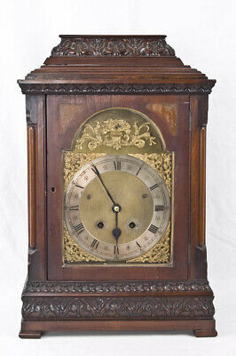 German carved mahogany Edwardian mantel clock for English market @ 1890 Original