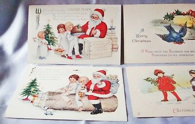 8 Christmas Victorian Post Cards Lot Turn Of The Century Beautiful! Unused (4)