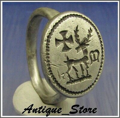 ** WOW **  DEER with CROSSES and M ** Ancient  Silver Byzantine Cristianity Ring