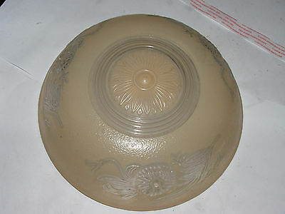 "Vintage FROSTED GLASS  3 HOLE CEILING LIGHT SHADE early 1900'S 10"" Diameter"