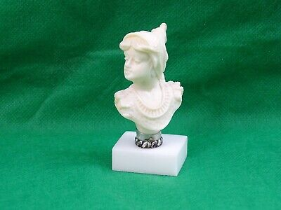 VERY FINE HAND CARVED MINIATURE BUST of BEAUTIFUL YOUNG WOMAN 19th Century