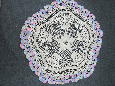 Sweet vintage pansy crocheted ecru doily rainbow floral border 13""