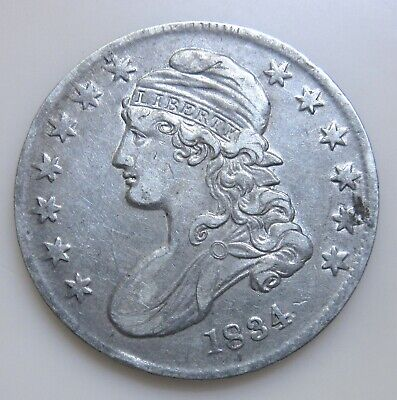 1834 Silver Capped Bust Half Dollar-Sm Date/Sm Stars/Sm Letters-Higher Grade