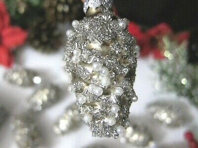 12x Mini Pearls Beads Glittery Embellished Pine Cones Glass Christmas Ornaments