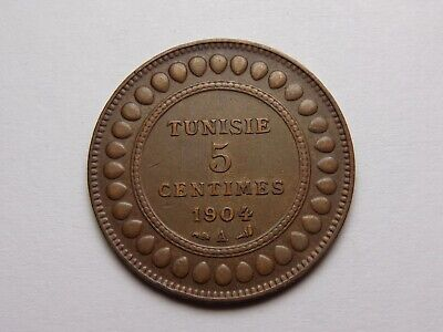 (Ah1322) 1904 A Tunisia Bronze 5 Centimes Xf+ Super Nice! Must See!!