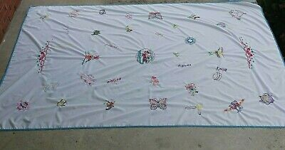 Vintage Colorful Handmade Embroidered Tablecloth  Fits 8 ft table