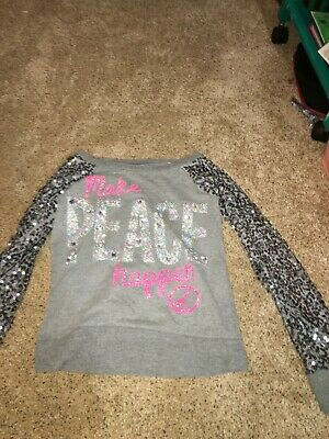 justice size 10 longsleeve sparkly grey shirt