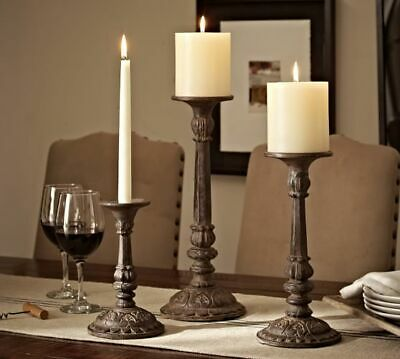 "Pottery Barn Cast-Iron Bronze Large 16"" Candleholders Set of Two (2)"