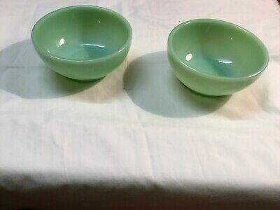 "Vintage Fire King Oven Ware 5"" Jadeite Cereal Chili berry Bowls Lot Of 2"