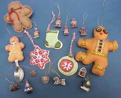 Gingerbread Man Cookie Xmas Tree Ornament Hallmark Kurt Adler Handmade Pin Lot