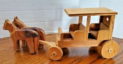 """Hand Made & Carved Wooden Horse And Two Seated Buggy 11"""" Long"""