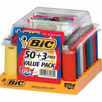 BIC Classic Special Edition Lighters 50 + 3 Regular Full Size Counter Display