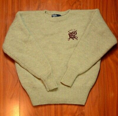 Vintage Polo Ralph Lauren Polo Stick Crest Striped Chunky Knit Wool Sweater XL