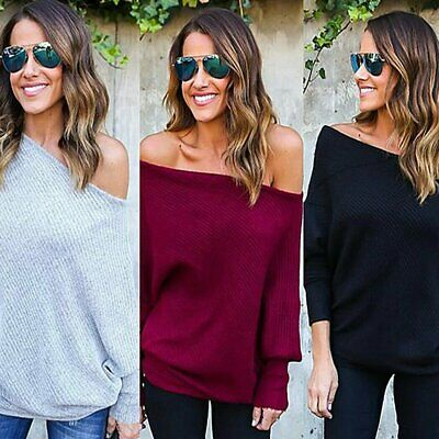 AU STOCK Womens Lady Fashion Off Shoulder Knitted Sweater Tops Jumper Pullover