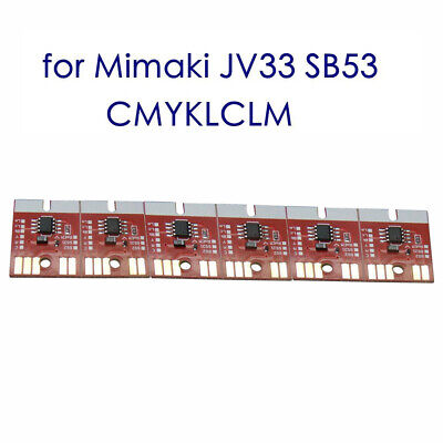 6 Colors Auto Reset CMYKLCLM Chip Permanent for Mimaki JV33 SB53 Ink Cartridge