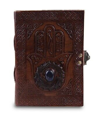 Handmade Leather Journal Travel Notepad Notebook Blank Diary Brown with Stone