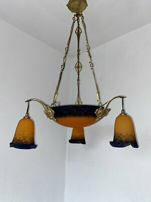 French Art Deco Kronleuchter Rethondes Signiert  Bowl Chandelier