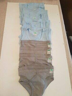 4  Boys Cotton Vests And Y Front Briefs By Sheldon's.  Age 9-11Yrs. Blue/  Grey
