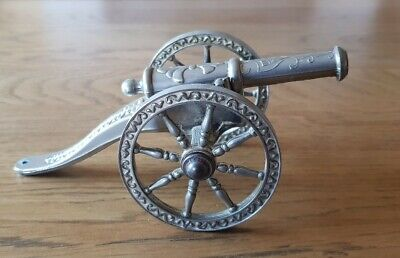 Vintage antique silver plated plate miniature cannon desk ornament display piece