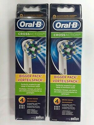 Braun Oral B Cross Action Brush Replacement Heads 4pack x 2 (total 8 heads)