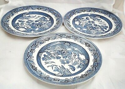 "Broadhurst Willow Staffordshire Ironstone set of three 9.5""/24.5cm dinner plates"