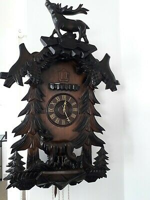 Large Black Forest Ornate Wooden Cuckoo Clock Working Perfectly