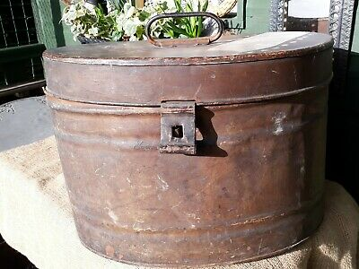 LARGE VINTAGE/RETRO METAL TIN HAT BOX - storage - wedding - theatre prop