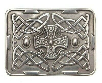 Ancient Celtic Cross Belt Buckle With Chrome Finnish - Made In Scotland