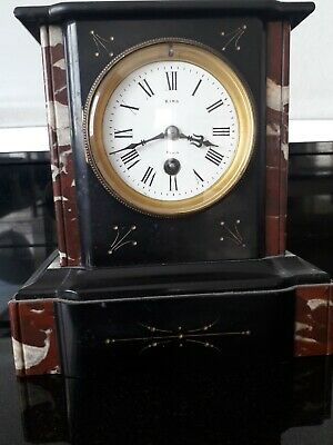 Antique 19thC French 8 Day Slate & Coloured Ornate Marble Mantel Clock