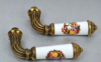 Pair of Antique Brass French Solid Door Lever Handle knob Painted Lovers , Art