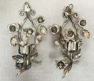 Pair Mid-Century Hollywood Regency Style Silver Gilt Tole Floral Sconces