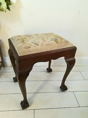 English Edwardian Claw Ball Foot Stool Needlepoint Tapestry
